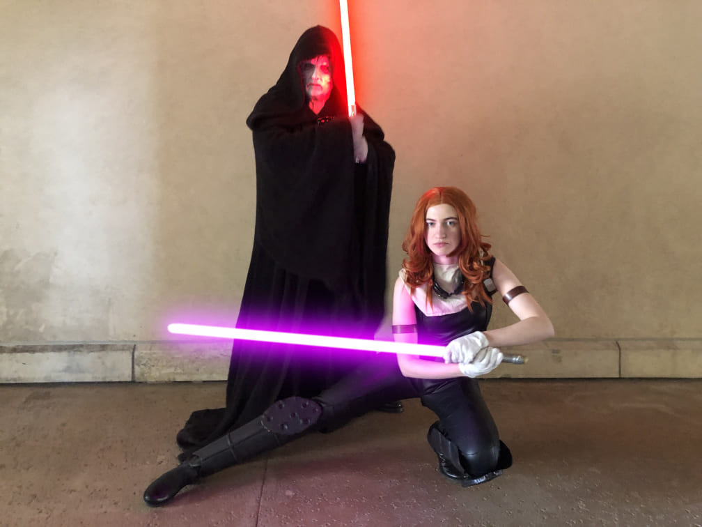 Saber Guild cosplayers as Mara Jade and Emperor Palpatine